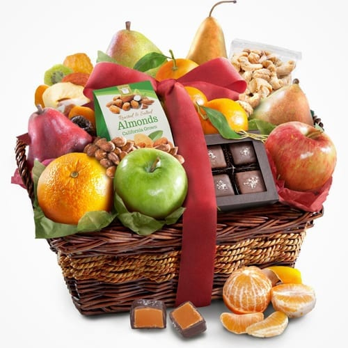 Dark Chocolate Covered Caramels and Golden State Fruit Gift Basket