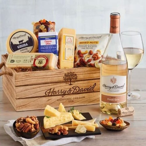 Harry & David Gourmet Cheese with Wine Gift Basket