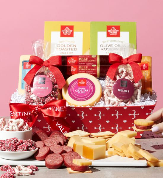 Hickory Farms Valentine Hearts Gift Basket