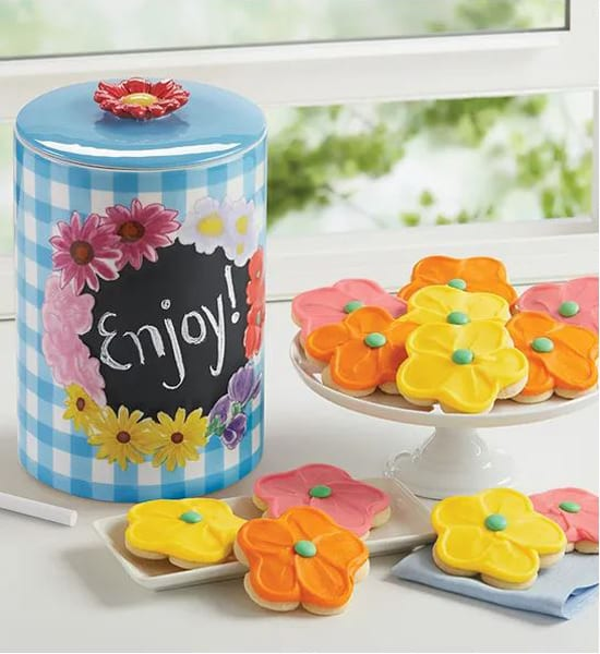 Spring Buttercream Frosted Collectors Cookie Jar Gift Basket