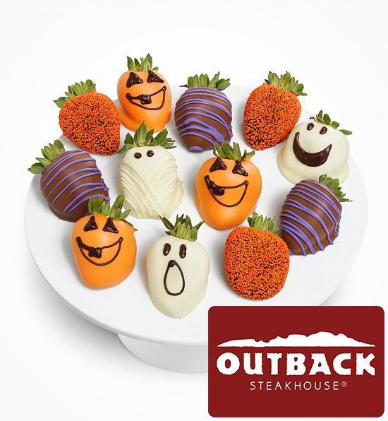 Chocolate Halloween Strawberries Outback Gift Card Basket